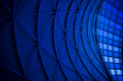 Blue Architectural Abstract. Architectural abstract in blue with repetitive geometric patterns stock photo