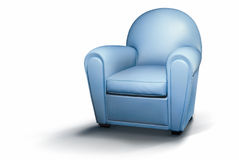 Blue armchair. Isolated comfortable armchair, color blue royalty free stock images