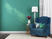 Blue Armchair And Decorations Stock Photo