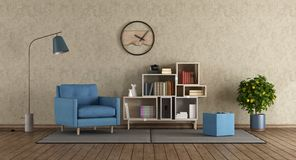 Blue armchair in modern lounge Stock Images