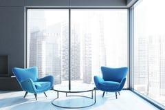 Blue armchairs loft living room, black fireplace vector illustration