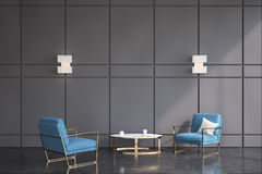 Blue armchairs office waiting room Royalty Free Stock Photo