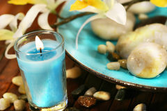 Blue aromatherpy candle Royalty Free Stock Images