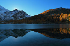 Blue Arpy lake at dusk. With autumn trees. Alpine mountains reflection Stock Images