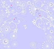 Blue arrival card. With abstract floral pattern and bluebells royalty free illustration