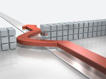 The blue arrow advances to avoid obstacles. 3D illustration Royalty Free Stock Image