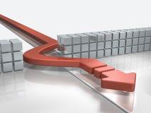 The blue arrow advances to avoid obstacles. 3D illustration Stock Photos