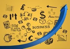 Blue arrow against black business doodles and yellow background Stock Photo