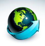 Blue arrow around earth. Bright blue arrow around the outside of a blue and green earth Stock Photo
