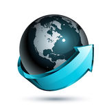 Blue arrow around World globe Stock Images