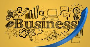Blue arrow and black business doodles against yellow background Royalty Free Stock Images