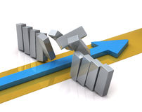 Blue arrow breaks through a barrier Stock Images