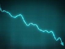 Blue arrow chart drop as symbol of financial crisis Stock Images