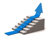 Blue arrow climbs upwards. 3d illustration of blue arrow climbs upwards Stock Photo