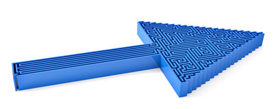 Blue arrow concept for Which way?. 3D render of a blue arrow ponting up and right with a maze filling the outline. Easly adapted to any color Stock Photography