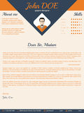 Blue arrow cover letter design Stock Photography