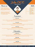 Blue arrow cv resume curriculum vitae template Stock Image