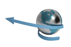 Blue arrow and Earth,3D illustration. Royalty Free Stock Photography