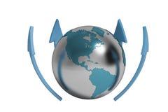 Blue arrow and Earth,3D illustration. Blue arrow and Earth 3D illustration Royalty Free Stock Photography