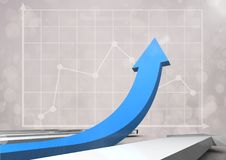 Blue arrow with graphs Royalty Free Stock Photos