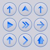 Blue arrow on gray buttons. 3d icons set. Vector illustration Royalty Free Stock Photo