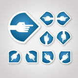 Blue arrow hand with round side Stock Photo