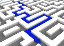 Blue arrow leads through a maze stock illustration
