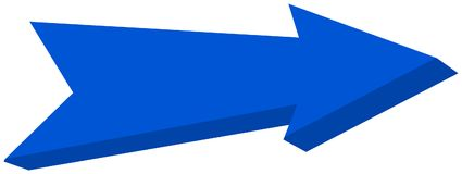 Blue arrow pointed - 3D Illustration. Blue arrow pointed, it`s a illustration Royalty Free Stock Images