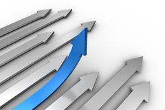Blue arrow pointing up from arrows Royalty Free Stock Image