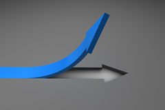Blue arrow pointing up from surface Stock Photography