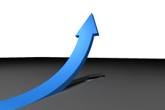 Blue arrow pointing up from surface Stock Photo