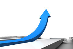 Blue arrow pointing up from surface Stock Images