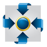 Blue arrow presentation brochure Stock Photos