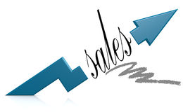 Blue arrow with sales word Stock Photos