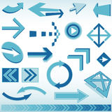 Blue arrow set Royalty Free Stock Photography