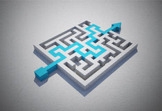 Blue arrow solving puzzle Royalty Free Stock Image