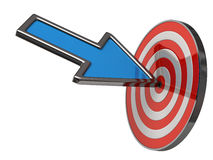 Blue arrow and target. 3d illustration of blue arrow and target Stock Photo