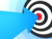 Blue arrow and target. Abstract success. Blue arrow in target (done in 3d Royalty Free Stock Photo