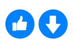 Blue arrow and thumb up icons, vector illustration. Blue arrow and thumb up icons close-up, vector illustration vector illustration