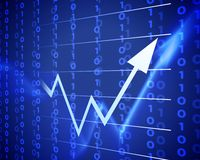 Blue arrow up. Business arrow graphic moving up. world crisis Stock Photo