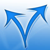 Blue arrows. Icon on gradient background Royalty Free Stock Image
