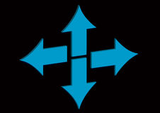 Blue arrows. Four arrows showing different directions in a black background Stock Images