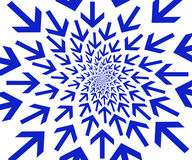 Blue arrows. Centrally directed blue arrows over white for background Royalty Free Stock Photography