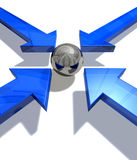 Blue arrows. Four blue arrows pointing from all quarters to a silver ball in the centre Stock Photos