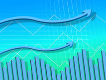 Blue Arrows Background Means Graph Upwards And Growth Royalty Free Stock Photos
