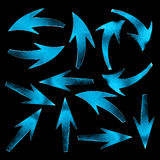 Blue arrows on black background. 3d render image Stock Photos