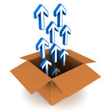 Unpack. Blue arrows coming out of a cardboard box, concept of software installation, unpacking and innovation, white background Royalty Free Stock Photo