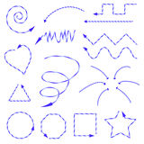 Blue arrows drawn in different forms and directions. Shapes, spiral and other forms drawn of arrows in the form of Christmas candy Royalty Free Stock Image