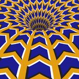 Blue arrows hole. Optical motion illusion illustration.  Stock Image