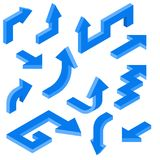 Blue arrows. Isometric set of 3d icons. Vector illustration isolated on white background royalty free illustration